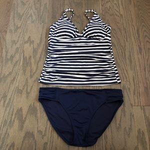 Tommy Bahama Ruched Stripe Tankini Swimsuit